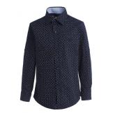 Рубашка для мальчика на пуговицах в мелкий горошек, темно-синяя
