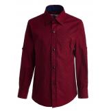 """Рубашка для мальчика с узором """"цветок"""", бордовая"""