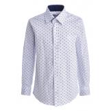 "Рубашка для мальчика на пуговицах с узором ""цветок"", белая"