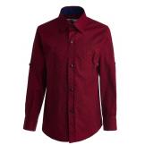 """Рубашка для мальчика на пуговицах с узором """"цветок"""", бордовая"""