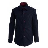 "Рубашка для мальчика на пуговицах с узором ""цветок"", темно-синяя"