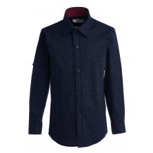 """Рубашка для мальчика на пуговицах с узором """"галочки"""", темно-синяя"""