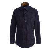 Рубашка для мальчика с узором, сине-коричневая