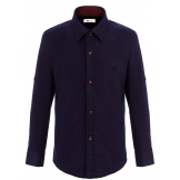 Рубашка для мальчика с узором, темно-синяя