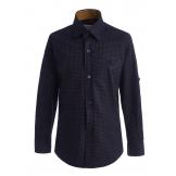 Рубашка для мальчика на пуговицах с узором, сине-коричневая