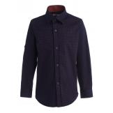 Рубашка для мальчика на пуговицах с узором, темно-синяя