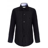Рубашка для мальчика на пуговицах с узором, черный