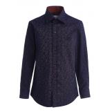"""Рубашка для мальчика с узором """"лепестки"""", сине-бордовая"""