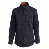 """Рубашка для мальчика с узором """"лепестки"""", сине-коричневая"""
