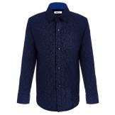 """Рубашка для мальчика с узором """"лепестки"""", синяя"""