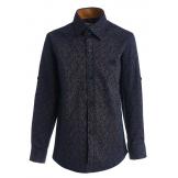 """Рубашка для мальчика с узором """"лепестки"""" на пуговицах, сине-коричневая"""