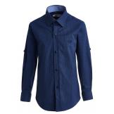 Рубашка для мальчика с геометрическим узором на пуговицах, темно-синяя