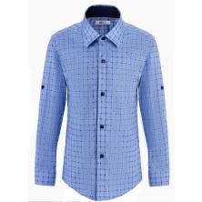 Рубашка для мальчика в клетку, голубая