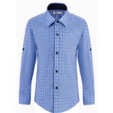Рубашка для мальчика в клетку, светло-голубая