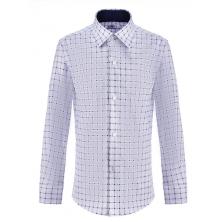 Рубашка для мальчика в клетку на пуговицах, белая