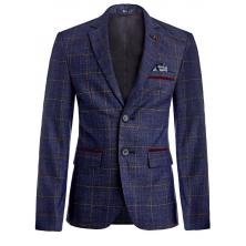 """Пиджак для мальчика с брошкой """"Лошадка"""", сине-бордовые"""
