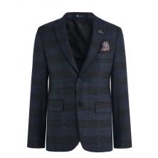 Пиджак для мальчика приталенный, серо-синий