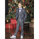 Костюм для мальчика модный приталенный, серо-синий
