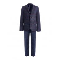 Костюм для мальчика модный приталенный, сине-бордовый