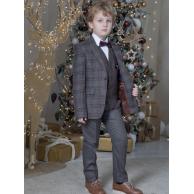 Костюм для мальчика модный приталенный, серо-малиновый