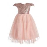 Длинное платье с пайетками персиковое
