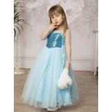 Длинное платье с пайетками голубое
