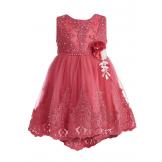 Платье нарядное с жемчугом красное