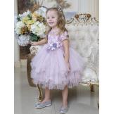 Прекрасное платье с цветком на застежке сиреневое