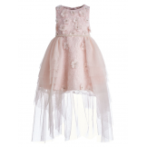 Длинное платье с цветочками и жемчугом розовое