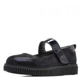 Туфли для девочки из натуральной кожи с бантом и застежкой, синие