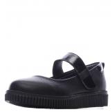 Туфли для девочки из натуральной кожи с бантом и застежкой, черные