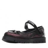 Туфли для девочки из натуральной кожи с бантом на носу, бордовые