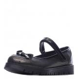 Туфли для девочки из натуральной кожи с бантом на носу, черные