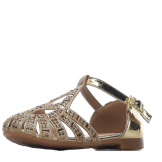 Туфли для девочки из искусственной кожи со стразами, золотые