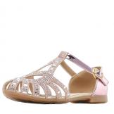 Туфли для девочки из искусственной кожи со стразами, розовые