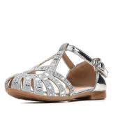 Туфли для девочки из искусственной кожи со стразами, серебристые