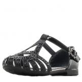 Туфли для девочки из искусственной кожи со стразами, черные