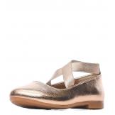 Туфли для девочки из искусственной кожи без застежки, бронзовые