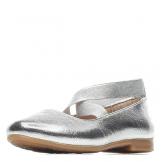Туфли для девочки из искусственной кожи без застежки, серебристые
