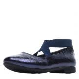 Туфли для девочки из искусственной кожи без застежки, темно-синие