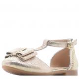 Туфли для девочки из искусственной кожи с бантом, золотые