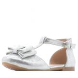 Туфли для девочки из искусственной кожи с бантом, серебристые