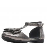 Туфли для девочки из искусственной кожи с бантом, серые