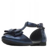 Туфли для девочки из искусственной кожи с бантом, темно-синие