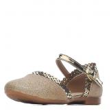 Туфли для девочки из искусственной кожи с перфорацией, золотые