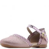 Туфли для девочки из искусственной кожи с перфорацией, розовые