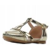 Туфли для девочки из искусственной кожи на застежке золотые