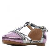 Туфли для девочки из искусственной кожи на застежке серебристо-розовые