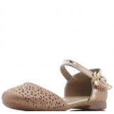 Туфли для девочки из искусственной кожи с перфорацией на носу, бронзовые