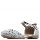 Туфли для девочки из искусственной кожи с перфорацией на носу, серебристые